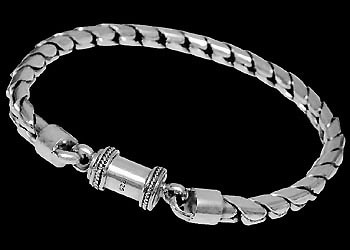 Mens Jewelry - .925 Sterling Silver Bracelets B107B - 6mm - Barrel Clasp