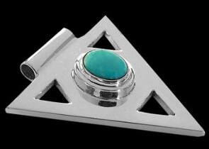 Turquoise and .925 Sterling Silver Triangle Pendant MP097