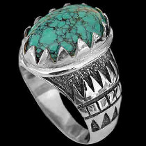 Men's Jewelry - Turquoise and .925 Sterling Silver Rings R689tq