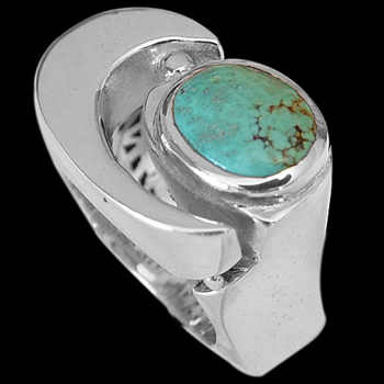 Men's Jewelry - Turquoise and .925 Sterling Silver Rings MR1178tq
