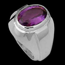 Men's Jewelry - Amethyst and Sterling Silver R977