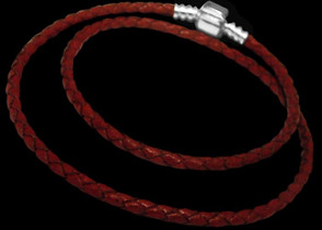 Red Double Waved Leather Bracelet with .925 Sterling Silver Clasps PB11AR