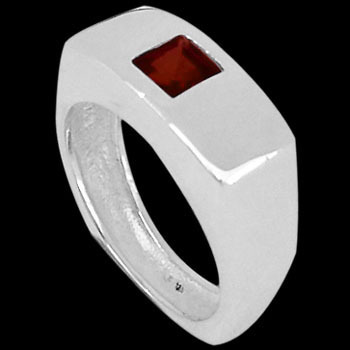Men's Jewelry - Garnet and .925 Sterling Silver Rings R555B