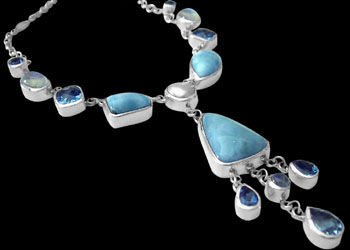 Bridal Gift - Larimar Blue Topaz Rainbow Moonstone and Sterling Silver Necklaces N959