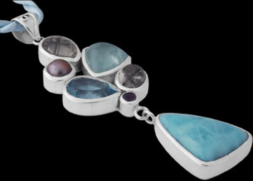 Dendritic Agate Topaz Larimar Black Pearl Aquamarine Iolite and .925 Sterling Silver Pendants PD-5079den