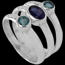 Blue Topaz Iolite and Sterling Silver Ring R-046