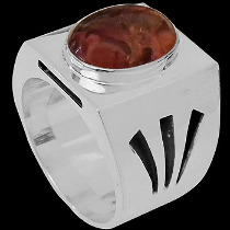 Men's Jewelry - Amber and .925 Sterling Silver Rings R-200cit