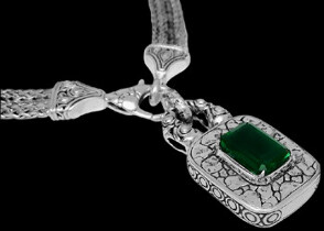 Valentines Day Jewelry Gift - Green Quartz and .925 Sterling Silver Necklaces N6060Gq