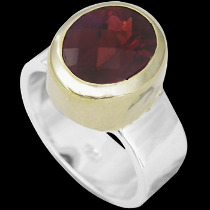 Garnet 18K Gold Plating and Sterling Silver Rings R1316