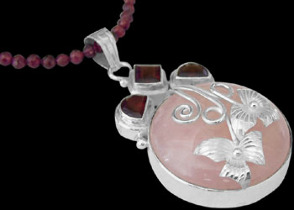 Anniversary Jewelry Gift - Rose Quartz Garnet and  Sterling Silver Necklaces MN137