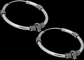 Silver Jewelry - .925 Sterling Silver Earrings - Hoop Earrings E162