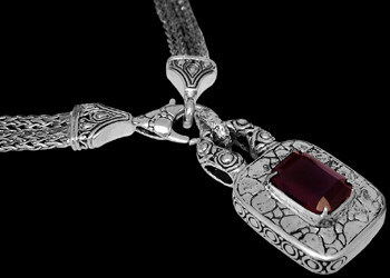 Valentines Day Jewelry Gift - Garnet and .925 Sterling Silver Necklaces N6060Ga