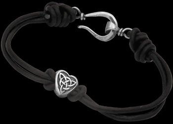 .925 Sterling Silver Celtic Beads and Black Leather Chokers - Celtic Beads ANIXI1009