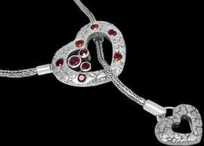 Anniversary Jewelry Gift - Garnet and Sterling Silver Necklaces N2311ga