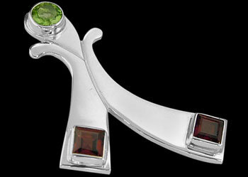Garnet Peridot and Sterling Silver Pendants MP06