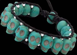 Gothic Jewelry - Genuine Black Leather and Turquoise Skulls Beaded Bracelets LSBS0010