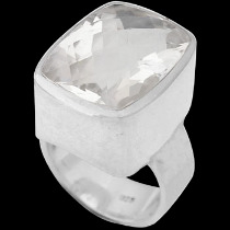 Clear Crystal Quartz and Sterling Silver Rings R-540ccry