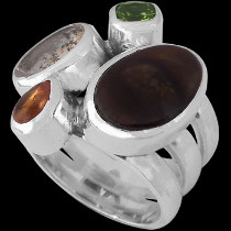 Fire Opal Spessartite Garnet Dendritic Agate Peridot and Sterling Silver Ring MR-1112B