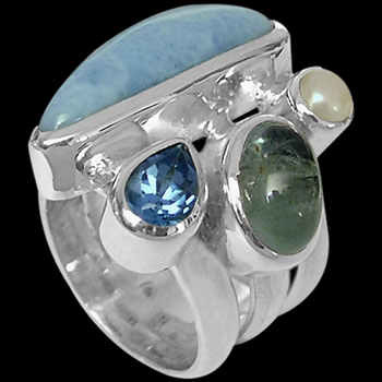 Larimar White Pearl Aquamarine Topaz and Sterling Silver Ring MR-1112la