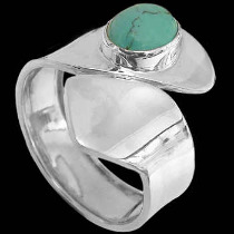 Round Turquoise and .925 Sterling Silver Rings R580