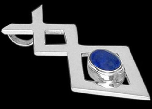 Celtic Jewelry - Lapis Lazuli and Sterling Silver Pendants MP010a