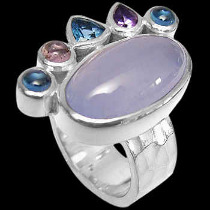Blue Agate Topaz Amethyst and Sterling Silver Rings R899Agt