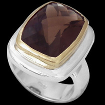 Smokey Quartz 18K Gold Plating and Sterling Silver Rings R1349