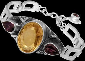 Silver Jewelry - Faceted Citrine Garnet Sterling Silver Bracelets MBB01