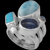 Rainbow Moonstone Larimar Opal Kyranite and Sterling Silver Ring MR-1112C