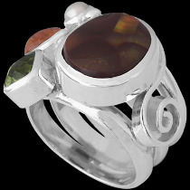 Fire Opal Peridot Spessartite Garnet White Pearl and Sterling Silver Ring MR-1112A