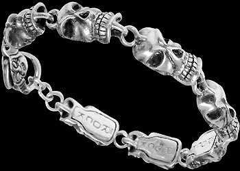 Gothic Jewelry - .925 Sterling Silver Skull Bracelet RCK406 - Ornate Lobster Clasp