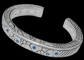 Blue Topaz and Sterling Silver Cuff Bracelets B1502Bt