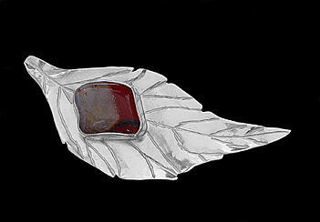 Jasper and Sterling Silver Leaf Brooch 1