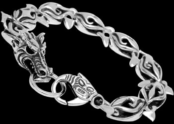 Gothic Jewelry - .925 Sterling Silver Dragon Bracelet RCK402 - Ornate Lobster Clasp - 12mm