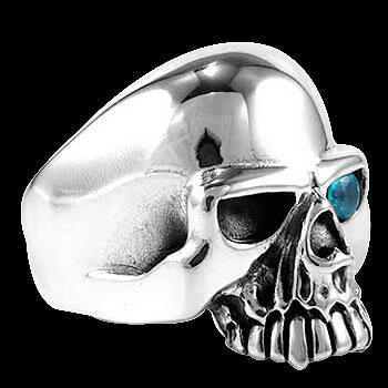 Silver Jewelry - Blue Topaz and .925 Sterling Silver Skull Rings R25BL