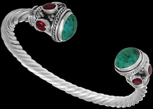 .925 Jewelry Turquoise Synthetic Ruby and .925 Sterling Silver Cable Bracelets B500tqgrtor