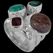 Anniversary Jewelry Gift - Turquoise Topaz Garnet Mexican Opal and Sterling Silver Ring MR-1112