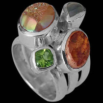 Anniversary Jewelry Gift - Rainbow Moonstone Peridot Mexican Opal Druzy Agate and Sterling Silver Ring MR-1112