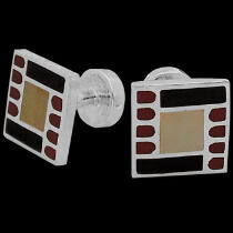 Anniversary Jewelry Gift - Red Coral White Mother of Pearl and Black Resin and Sterling Silver Cuff Links AZ516mot