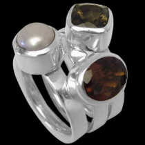 Womens Jewellery - Garnet Pearl Smokey Quartz and Sterling Silver Rings R1148