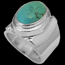 Men's Jewelry - Turquoise and .925 Sterling Silver Rings MR026tq