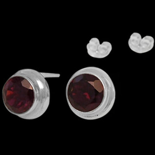 Bridesmaids Jewelry - Garnet and Sterling Silver Earrings E330