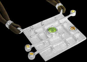 Peridot Citrine and Sterling Silver Pendant with Brown Cord V506