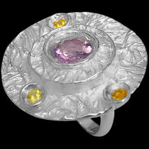 Anniversary Jewelry Gift - Amethyst Citrine and Sterling Silver Ring RV195