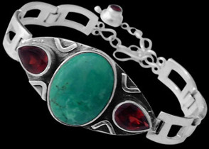 Turquoise Garnet and Sterling Silver Bracelet MBB01tqga