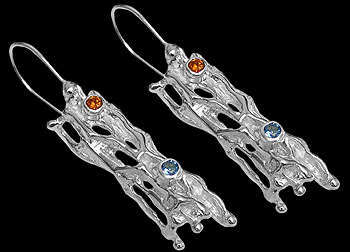 Anniversary Jewelry Gift - Garnet Topaz and Sterling Silver Earrings EV31
