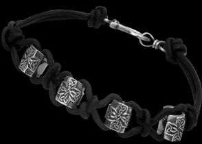 .925 Sterling Silver Celtic Beads and Black Leather Bracelets - Celtic Trinity Knot Cross Beads ANIXI210