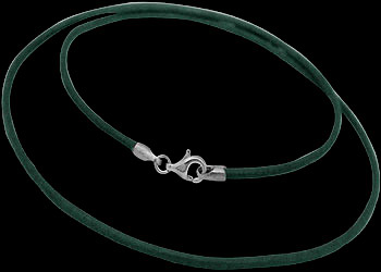 Hunter Green Leather and Sterling Silver Necklaces LN118hg