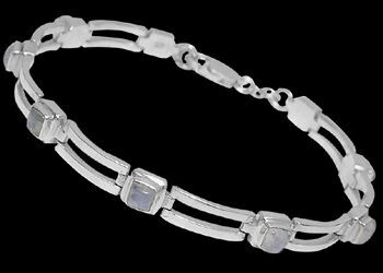 Rainbow Moonstone and Sterling Silver Bracelets B16