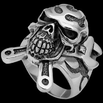 Gothic Rings - .925 Sterling Silver Wrench and Skull Rings R395